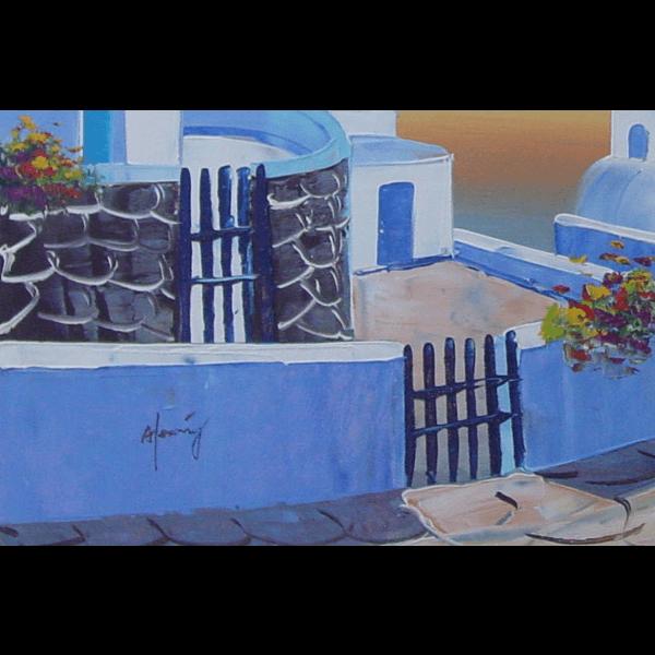 Santorini Church Sunset Oil Painting