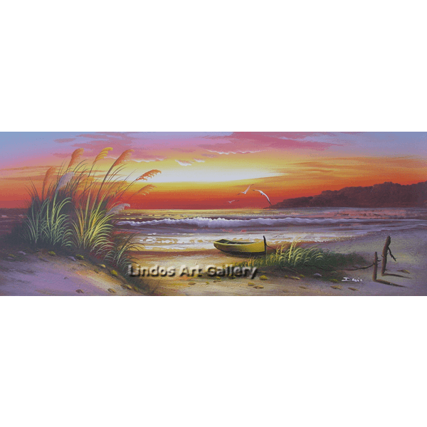 Seascape and Boat Oil Painting