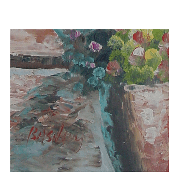 Steps and Houses oil Painting