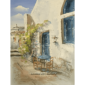 Table Chairs Outside the Greek Cafe Oil Painting