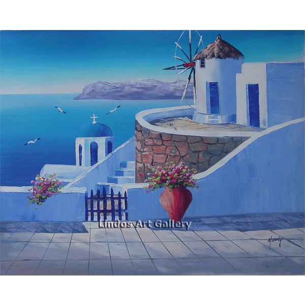 Windmill and Blue Church Oil Painting