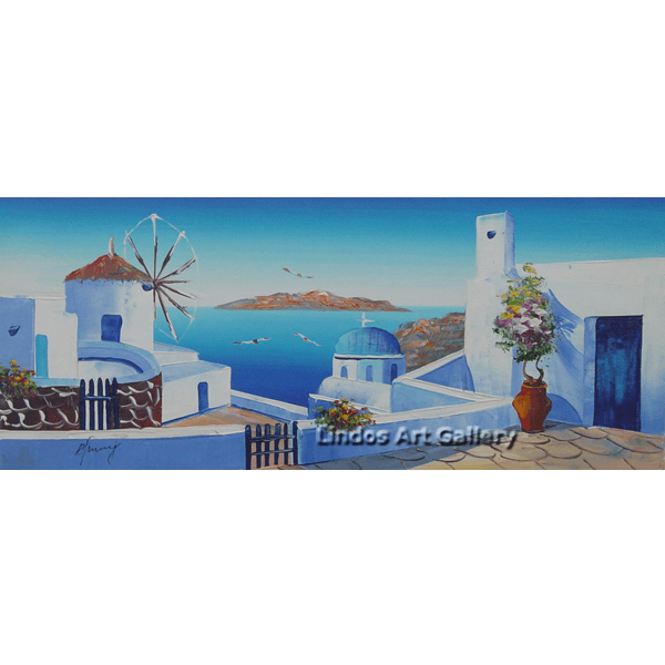 Greek Windmill and Church Painting