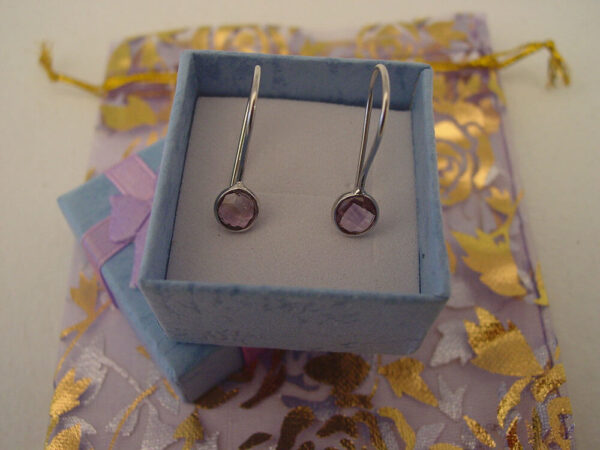 Amethyst Hanging Earrings Sterling Silver 925