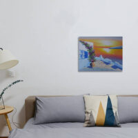 Greek Courtyard Sunset Oil Painting