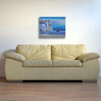 Greek Island Windmill View Oil Painting.