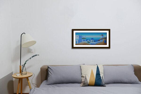 Santorini Churches Windmill Painting