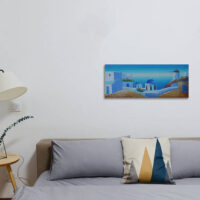 Santorini Churches Windmill Painting