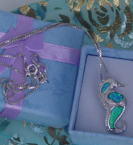 Silver Seahorse Necklace Sterling 925