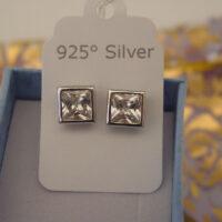Silver Zircon Earrings Sterling 925