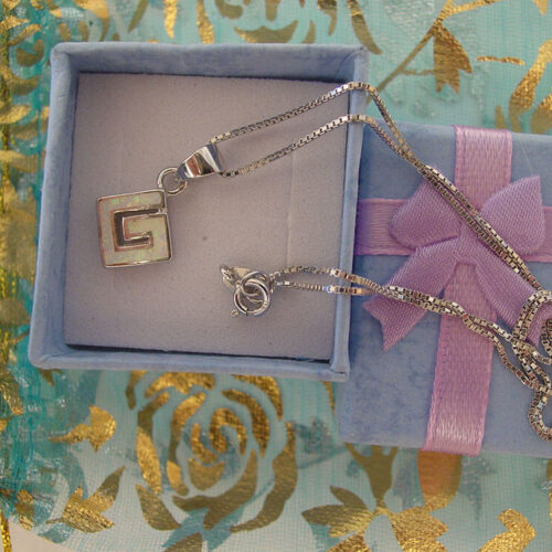 Greek Key Meandros White Necklace Sterling Silver 925