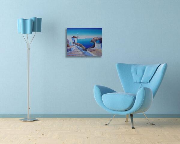 Greek Windmill Blue Church Oil Painting