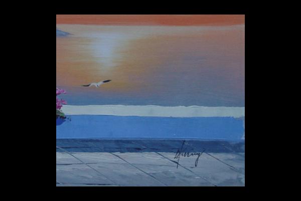 Greek Windmill Church Sunset Oil Painting