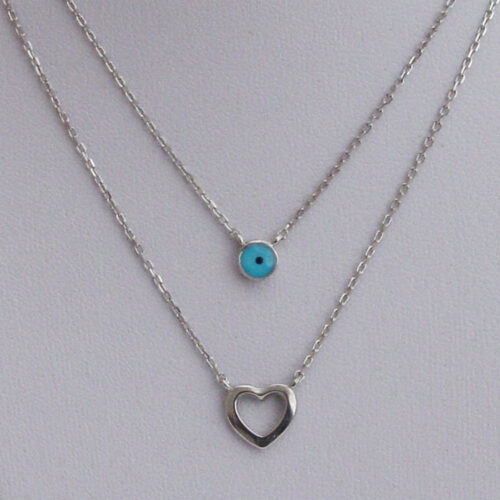Double evil eye and heart necklace