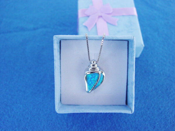 Seashell Blue Necklace Sterling Silver 925