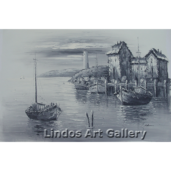 Black and White Boat Harbour Oil Painting