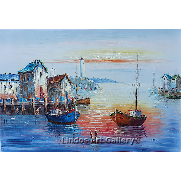 Boats and Lighthouse in Harbour Oil Painting