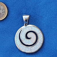 Greek Spiral Big Speira White Necklace Sterling Silver 925