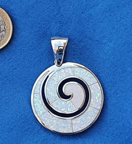 Greek Spiral Big Speira White Necklace Sterling Silver 925