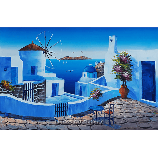 Windmill and Blue Church Greece Oil Painting