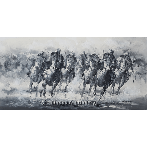 Racing Horses with Jockeys Oil Painting