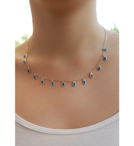 Blue Hanging Charm Necklace Sterling Silver 925