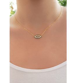 Evil Eye Protector Silver 925 Necklace Gold Tone