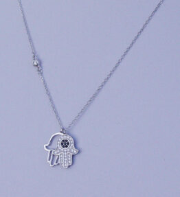 Hamsa Hand of Fatima Double Necklace Silver 925