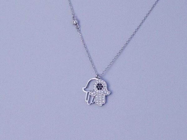 Hamsa Hand of Fatima Double Necklace Silver 925