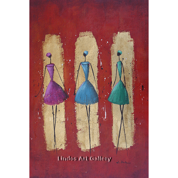 Modern Ladies Ballerinas Oil Painting