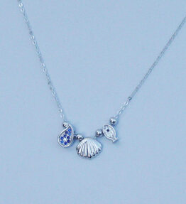 Silver Seashell Fish Sea Necklace Sterling 925