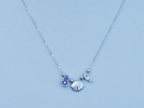 Silver Seashell Fish Sea Necklace Sterling 925
