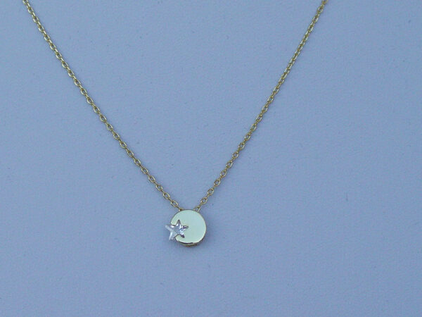 Silver Star Round Necklace Sterling 925 Gold Plated