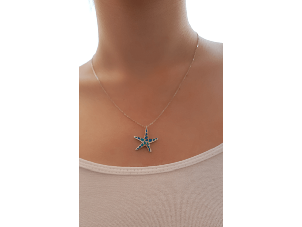 Blue Starfish Silver Necklace