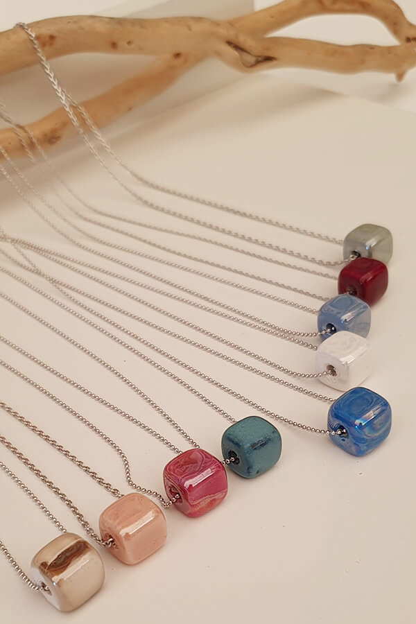 Ceramic Bead Necklace on Silver 925 Chain
