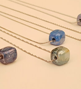 Ceramic Bead Necklace on Silver 925 Chain Small