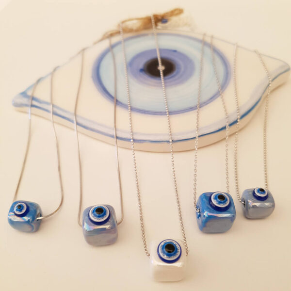 Blue Eye Ceramic Silver Necklace
