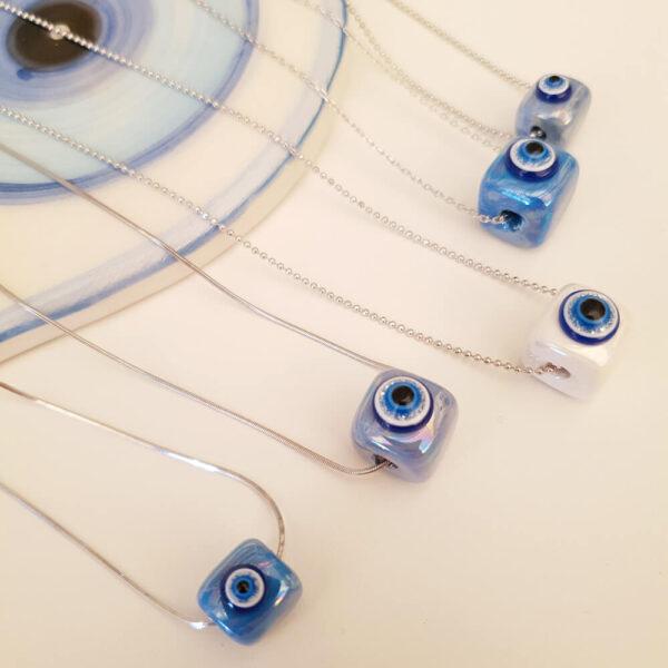 Blue Eye Ceramic Silver Necklace