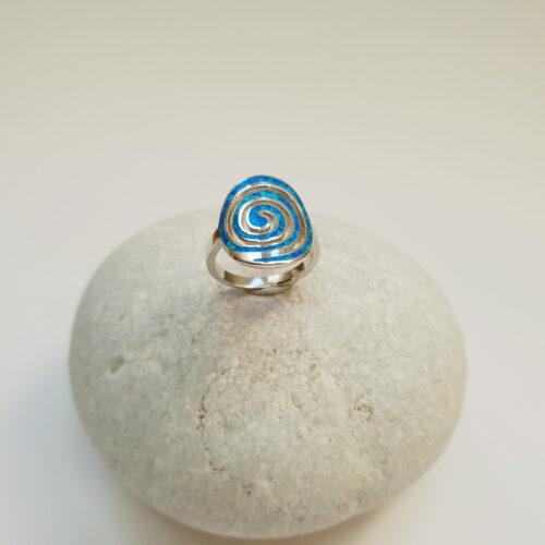 Blue Opal Spiral Ring