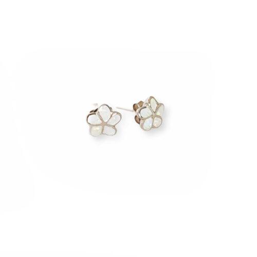 White Opal Flower Earrings