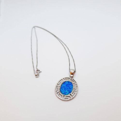 Greek Key Blue Opal Necklace